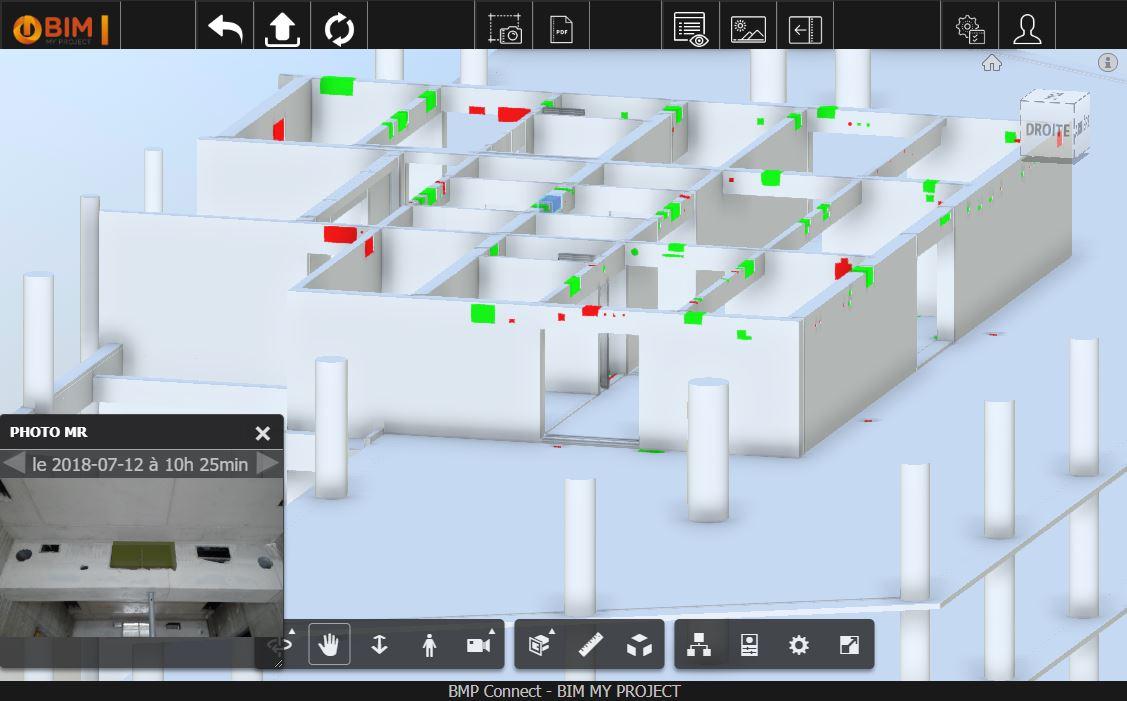 Capture d'écran de BMP Connect, plateforme de suivi de chantier BIM